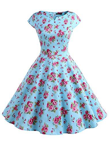 Hepburn Stil Vintage Cap Sleeves Dot Einfarbig Rockabilly Kleid Swing Kleider WTP10002 Flower XS (60er Jahre Hippie Stil)