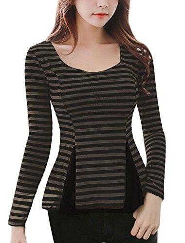 allegra-k-women-scoop-neck-slim-fit-paneled-stripes-peplum-top-m-black-grey