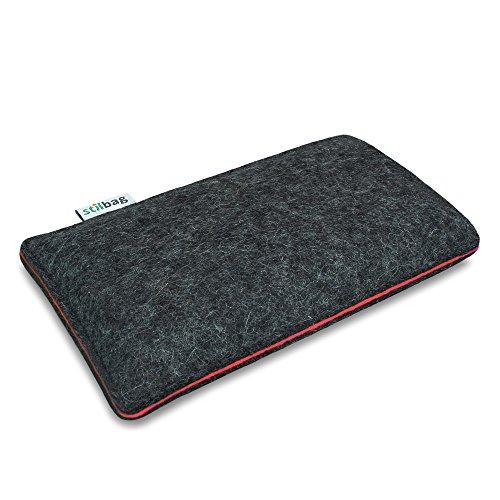 Stilbag Filztasche 'FINN' für Apple iPhone SE - Farbe: hellgrau/violett anthrazit/lachs
