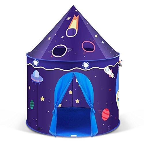 INTEY Spielzelt Kinderzelt Spielhaus Zelt Kinderschloss Burg mit 1 Tür und 2 Fenstern, inkl. Tasche, im Dunkelblau