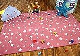 Alfombra Infantil y de Juego con diseño de Estrellas - Rosa - 17 tamaños