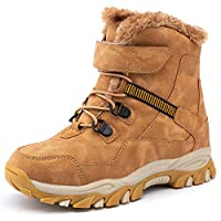 UBFEN Boys Snow Boots Kids Waterproof Boots Winter Boots Fur Lined Boots 4 UK A Brown