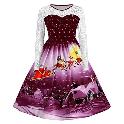 VEMOW Herbst Mode Elegant Damen Abendkleid Frauen V-Ausschnitt Bänder Frohe Weihnachten Weihnachtsmann Print Party Dating Midi Kleid(Z1-Violett, EU-38/CN-XL)