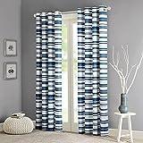Intelligente Design Sadie Baumwolle Streifen bedruckt Vorhang 50x 63, blau, 50x 63