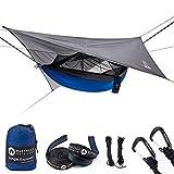 Easthills Outdoors - Amaca Doppia da Campeggio, Portatile, con zanzariera Rimovibile, Blue with rainfly