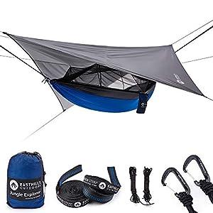 Easthills Outdoors Jungle Explorer 118″x 79″ tragbare Doppelcamping-Hängematte mit abnehmbarem Moskito-Insektennetz und Baumgurten