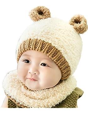 Ababalaya Unisex Baby Wintermütze Pelzkugel Gestrickt Wolle Winter Warme baby strickmütze mit Schlauchschal 6-...