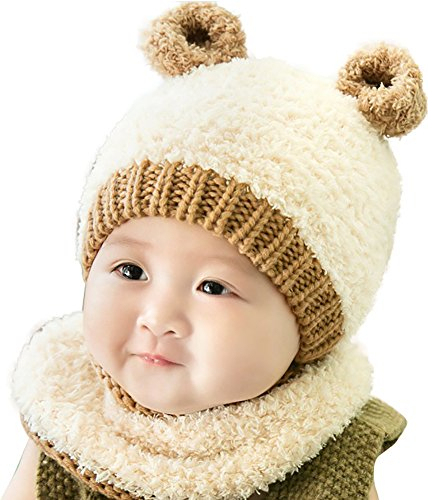 Ababalaya Unisex Baby Wintermütze Pelzkugel Gestrickt Wolle Winter Warme Strickmütze mit Schlauchschal 6-36 Monate,Beige Bär (Gestrickte Bären Hut)