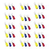 MagiDeal 150pcs Conjuntos Tornillo Prensado de Espada Horquilla Terminal Conector U Forma Sv2-4/SV2-3.2 - Azul + rojo + amarillo SV2-4