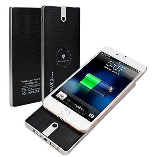 Preisvergleich Produktbild 12shage Tragbare externe USB Power Bank 8000mAh und Wireless Charger für Samsung Galaxy Note 8 (Schwarz)
