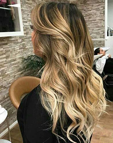 LaaVoo 10 Zoll Clip in Remy Echthaarverlängerungen Crwon Toppers Silk Base Mono Top Haarteil Dunkelstes Braun zu Goldene Blondine und Erdbeerblond Echthaar 2 * 6zoll #2/16/27 -