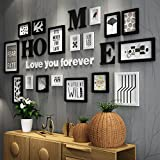 Fotorahmen Collage Massivholz Kombination schwarz und weiß klassischen Rahmen Wohnzimmer kreative Hintergrund Wand Ornamente (Farbe : Schwarz und weiß)