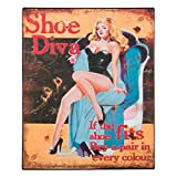 Placa metálico pin-up serie Divas–Zapatos