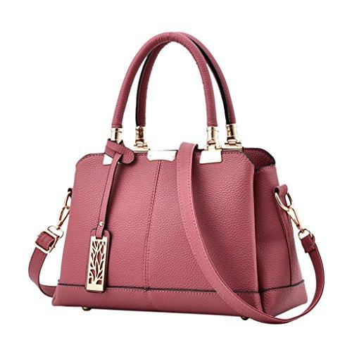 Longra Pelle artificiale colore solido donne goffratura chiusura a cerniera soft manico borsa spalla borsa tote bag Rosa