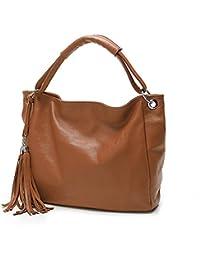BYD - Mujeres Carteras de mano Color puro Alta calidad PU cuero Mutil Function Fashion School Bag Work Office Bag Bolsos totes Fringe