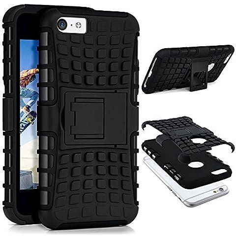 iPhone 5C Hülle Silikon Hard-Case Schwarz [OneFlow Outdoor Back-Cover] Extrem