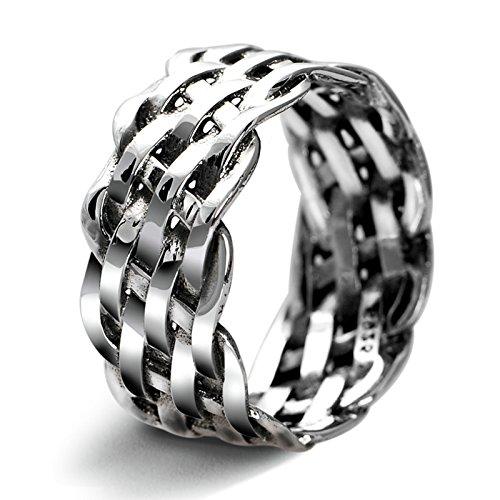 Lafeil Ring 925 Silber Herren Herren Ringe Vintage 925 Silber Trauringe Herrenringe Hohl Weben Muster Ringe Gr.61 (19.4) - Weben Muster