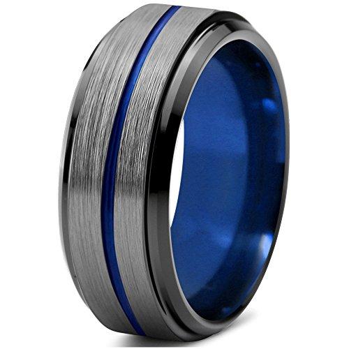 Tungsten Wedding Band Ring 8mm for Men Women Blue Black Grey Grey Step Beveled Edge Brushed Polished Size 68 (21.6) -
