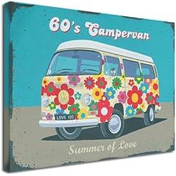 Impresionante Vintage 60de furgoneta arte lienzo
