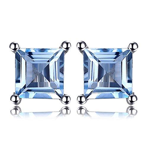 Jewelrypalace Quadrata 0.7ct Naturale Cielo Blu AzzurroTopazio 925 Sterling Argento Stud Orecchini