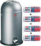 Wesco Set Kickmaster 33-Liter Mülleimer silber + 56 Stück optimal passende Müllbeutel