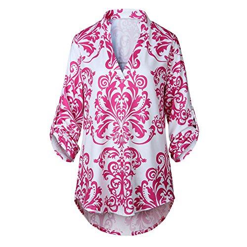 Manches 3/4 Stet Col Encolure Profonde Col En V Baroque Ethnic Tribal Africain Florale à Fleurs Ourlet Incurvé Blouse Chemisier Shirt Chemise T-Shirt Haut Top Rose Rouge