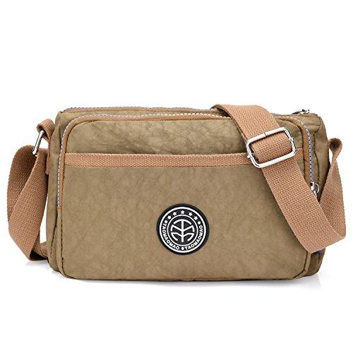 Outreo Schultertasche Damen Umhängetasche Lässige Leichter Kuriertasche Mode Taschen Wasserdicht Messenger Bag Sporttasche Reisetasche für Mädchen Beige