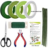 Floral Arrangement Kit Tools, 8 Pcs Floral Supplies Come with Green Floral Tape, Floral 26 & 22 Guage Stem Wire, Floral Wire Cutter, Shear for Men and Women Floral Design Lovers