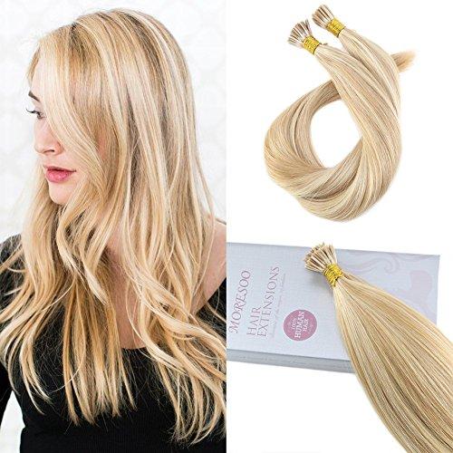 Moresoo 24 Pouce Natural Human Hair I Tip Human Hair Extensions 1 G/S 50 Strands Meche Cheveux Couleur Blonde Dorée Foncée #14 Surligné avec Bleach Blonde #613 Extension Hair Human