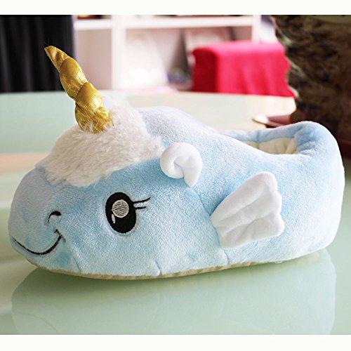 Kenmont Unicorn Licorne Chaussons Peluche Pantoufles Hiver Coton Chaussons Chaussures, pointure européenne: 36-41, cadeaux festival Idol Nouveauté Noël (Blau) Blue Unicorn