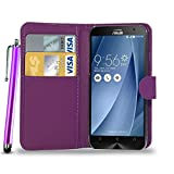 N+ INDIA ASUS ZENFONE 5 PURPLE LEATHER WALLET FLIP CASE COVER POUCH FOR ASUS ZENFONE 5 WITH TOUCH STYLUS PEN