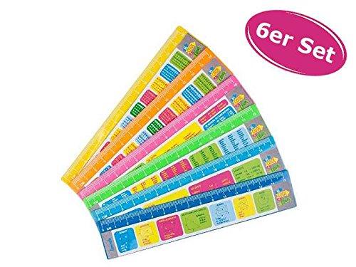 itsisa Lineal mit Spickzettel 6er Set - ausgefallenes Lineal mit Spickzettel, zum Schulanfang, Zeichnen