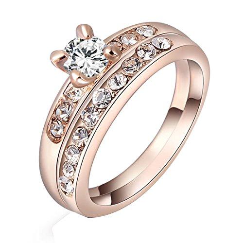 joyliveCY Fashion Pretty Wedding Finger Ring Jewelry Woman'S Fancy Rose Gold Diamond Set Ring Uk Size L 1/2