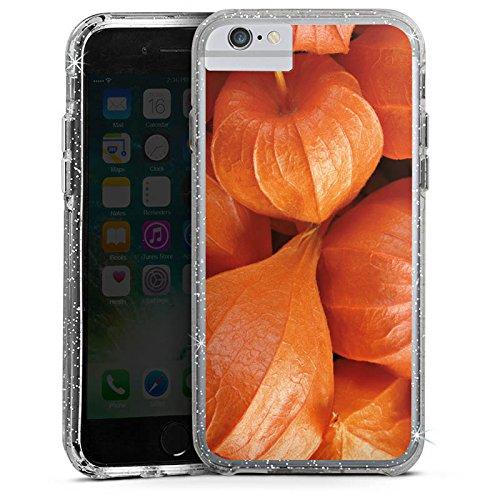 Apple iPhone 7 Plus Bumper Hülle Bumper Case Glitzer Hülle Fruits Pflanze Plant Bumper Case Glitzer silber