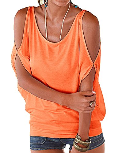 MEXI Damen Fashion Kalte Schulter T-Shirt Lose Tops 11 Farben Style 03-Orange