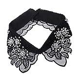 MagiDeal Frauen Kragen Abnehmbare Hälfte Shirt Bluse Weiß/Schwarz/Denim/Chiffon - Schwarz Blätter, Halsband