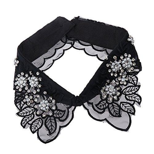 MagiDeal Frauen Kragen Abnehmbare Hälfte Shirt Bluse Weiß/Schwarz/Denim/Chiffon - Schwarz Blätter, Halsband (Spitzen 8 Abbildung)