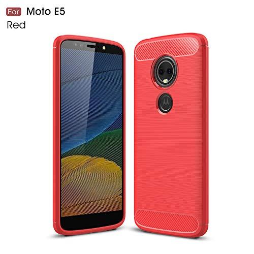Motorola Moto E5 Hülle (XT1920DL) YMH strapazierfähige Panzerfolie und stoßdämpfende TPU-Hülle, für Moto E5 (Tracfone, Simple Mobile, Straight Talk, Total Wireless), rot