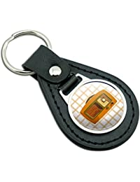 Retro Radio Vintage Technology Black Leather Metal Keychain Key Ring