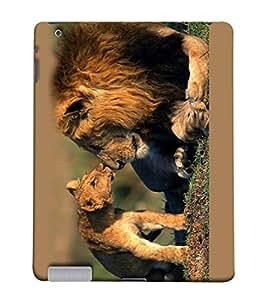 PrintVisa Lion Family 3D Hard Polycarbonate Designer Back Case Cover for Apple iPad 2 :: Apple iPad 3 :: Apple iPad 4