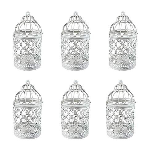 Weanty 6 portavelas de metal para colgar en jaula de pájaros, centros de mesa de decoración vintage para fiestas de boda