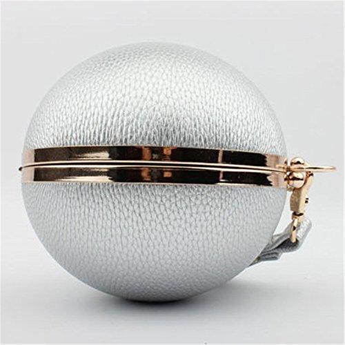 Good Night La donna in pelle di moda sfera rotonda borsa della frizione di sera del partito Argento