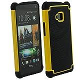 HTC ONE M7 C6603 Case Outdoor inkl.Panzerglas Cover Hybrid Schutz Hülle Sturz Bumper Displayschutzfolie Folie Schwarz Gelb Yellow
