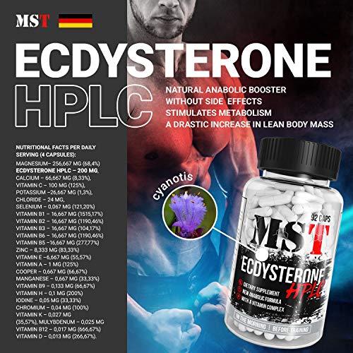 Ecdysterone HPLC 92 Kapseln | Ecdysteron hohe konzentration | 24 Vitamine und Minerale | Beta Ecdysteron | Ecdysone | Ecdysteron kapseln | MST Nutrition | Deutschland | -