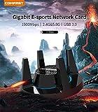 Adaptateur Wifi Usb, Webla Comfast Ac1900 Adaptateur Réseau Usb Sans Fil Double Bande Adaptateur Wi-Fi Gigabit 5 Ghz 1300Mbps + 2.4Ghz 600Mbps Pour Pc Jeu Compatible Avec Win Xp/Mac Os 10.6