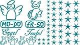 Autoaufkleber Sticker Aufkleber Set für Auto Schriftzug Engel Mo-Do Fr-So Teufe (066 türkisblau)