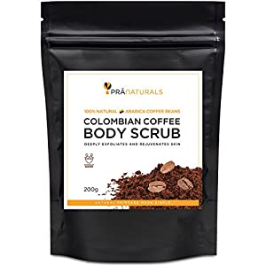 PraNaturals Pure Colombian Coffee Scrub from the Finest Colombian Coffee Beans Blended with Natural Essential Oils for Reducing Cellulite, Stretch Marks and Detoxing Skin - 200g from PraNaturals