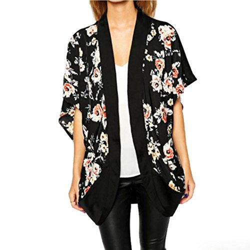 Culater Mujeres impreso floral del empalme de la gasa Mantón kimono Cardigan Tops Cúbrase (XL, Negro)