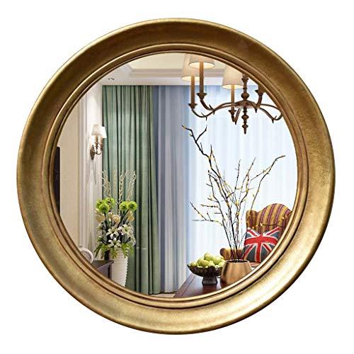 Umrahmt Harz (Wandspiegel Schminkspiegel Vintage, Harz Umrahmt Dekorativer Hängender Kosmetikspiegel für Schlafzimmer Wand-Kosmetikspiegel für Badezimmer (Color : Gold, Size : 75cm))