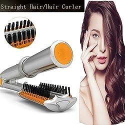 Cheveux bigoudi Céramique Contrôle de la température sèche et humide Brosse à cheveux Lisseur Fer à Friser Fer Straight Volume 2 En 1 Fer Rotatif (Argent)